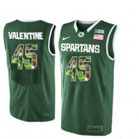 Michigan State Spartans #45 Denzel Valentine Green With Portrait Print College Basketball Football Jersey