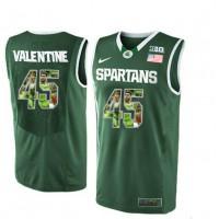 Michigan State Spartans #45 Denzel Valentine Green With Portrait Print College Basketball Football Jersey