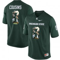 Michigan State Spartans #8 Kirk Cousins Green With Portrait Print College Football Jersey