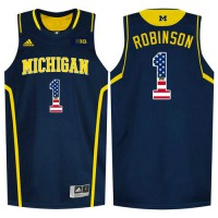 Michigan Wolverines #1 Glenn Robinson III Navy College Basketball Jersey