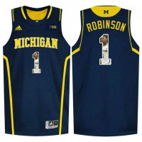 Michigan Wolverines #1 Glenn Robinson III Navy With Portrait Print College Basketball Jersey