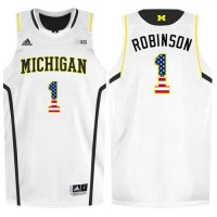 Michigan Wolverines #1 Glenn Robinson III White College Basketball Jersey
