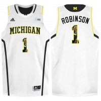 Michigan Wolverines #1 Glenn Robinson III White With Portrait Print College Basketball Jersey