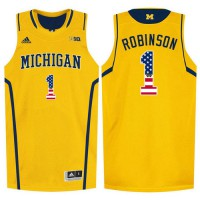 Michigan Wolverines #1 Glenn Robinson III Yellow College Basketball Jersey