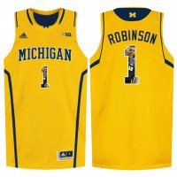 Michigan Wolverines #1 Glenn Robinson III Yellow With Portrait Print College Basketball Jersey