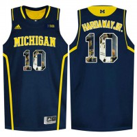 Michigan Wolverines #10 Tim Hardaway Jr. Navy With Portrait Print College Basketball Jersey