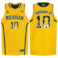 Michigan Wolverines #10 Tim Hardaway Jr. Yellow With Portrait Print College Basketball Jersey