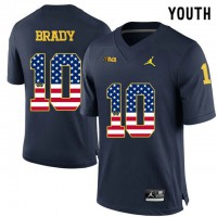 Michigan Wolverines #10 Tom Brady Navy USA Flag Youth College Football Limited Jersey
