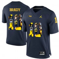 Michigan Wolverines #10 Tom Brady Navy With Portrait Print College Football Jersey