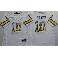 Michigan Wolverines #10 Tom Brady White Player Fashion Stitched NCAA Jersey