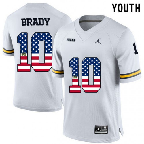 finest selection 3bed9 5c364 Michigan Wolverines #10 Tom Brady White USA Flag Youth ...
