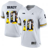 Michigan Wolverines #10 Tom Brady White With Portrait Print College Football Jersey