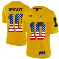 Michigan Wolverines #10 Tom Brady Yellow USA Flag College Football Limited Jersey