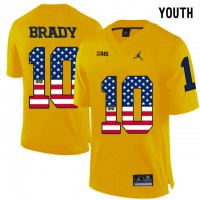 Michigan Wolverines #10 Tom Brady Yellow USA Flag Youth College Football Limited Jersey