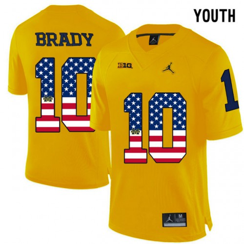d2df7b29d ... best price michigan wolverines 10 tom brady yellow usa flag youth college  football limited jersey e2f82