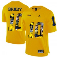 Michigan Wolverines #10 Tom Brady Yellow With Portrait Print College Football Jersey