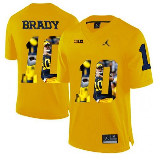 super cute 448dd 75924 Michigan Wolverines #10 Tom Brady Yellow With Portrait Print ...