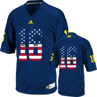 Michigan Wolverines #16 Denard Robinson Navy USA Flag College Football Limited Jersey