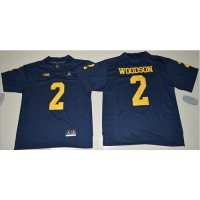 Michigan Wolverines #2 Charles Woodson Navy Blue Jordan Brand Stitched NCAA Jersey
