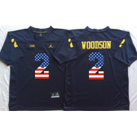 Michigan Wolverines #2 Charles Woodson Navy USA Flag College Jersey