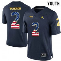 Michigan Wolverines #2 Charles Woodson Navy USA Flag Youth College Football Limited Jersey