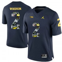 Michigan Wolverines #2 Charles Woodson Navy With Portrait Print College Football Jersey