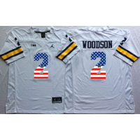 Michigan Wolverines #2 Charles Woodson White USA Flag College Jersey