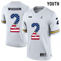 Michigan Wolverines #2 Charles Woodson White USA Flag Youth College Football Limited Jersey