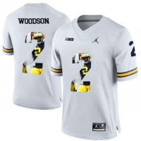 Michigan Wolverines #2 Charles Woodson White With Portrait Print College Football Jersey