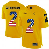 Michigan Wolverines #2 Charles Woodson Yellow USA Flag College Football Limited Jersey
