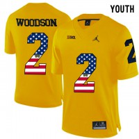 Michigan Wolverines #2 Charles Woodson Yellow USA Flag Youth College Football Limited Jersey