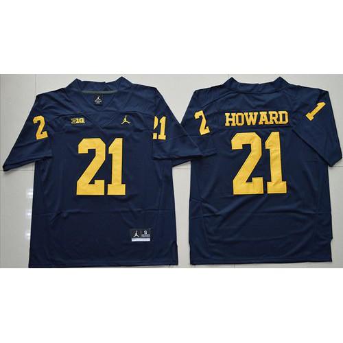 4a83159ca064 Michigan Wolverines  21 Desmond Howard Navy Blue Jordan Brand Stitched NCAA  Jersey