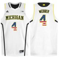 Michigan Wolverines #4 Chirs Webber White College Basketball Jersey