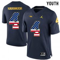 Michigan Wolverines #4 Jim Harbaugh Navy USA Flag Youth College Football Limited Jersey