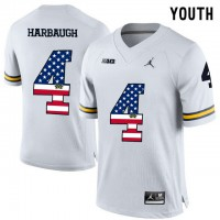 Michigan Wolverines #4 Jim Harbaugh White USA Flag Youth College Football Limited Jersey