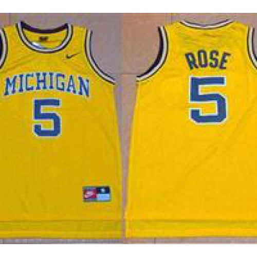 separation shoes e1976 90d34 Michigan Wolverines #5 Jalen Rose Gold Basketball Stitched ...