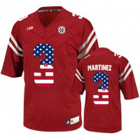 Nebraska Cornhuskers #3 Taylor Martinez Red USA Flag College Football Jersey