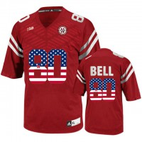 Nebraska Cornhuskers #80 Kenny Bell Red USA Flag College Football Jersey