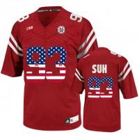 Nebraska Cornhuskers #93 Ndamukong Suh Red USA Flag College Football Jersey