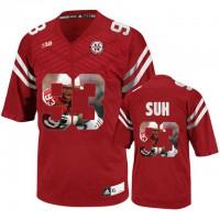 Nebraska Cornhuskers #93 Ndamukong Suh Red With Portrait Print College Football Jersey