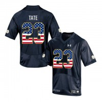 Norte Dame Fighting Irish #23 Golden Tate Navy USA Flag College Football Jersey
