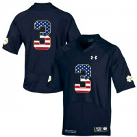 Norte Dame Fighting Irish #3 Shamrock Series Black USA Flag College Football Jersey