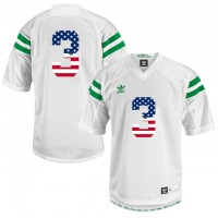 Norte Dame Fighting Irish #3 Shamrock Series White Adidas USA Flag College Football Jersey