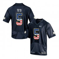 Norte Dame Fighting Irish #5 Manti Te'o Navy USA Flag College Football Jersey