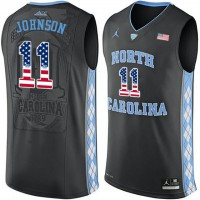 North Carolina Tar Heels #11 Brice Johnson Black USA Flag College Basketball Jersey