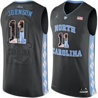 North Carolina Tar Heels #11 Brice Johnson Black With Portrait Print College Basketball Jersey2