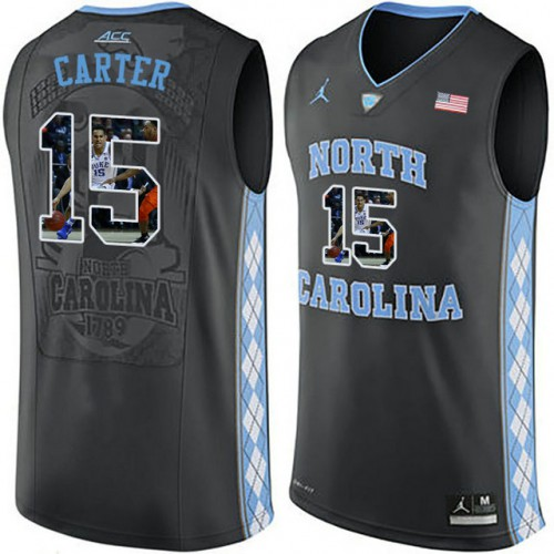 e00892b723a9 North Carolina Tar Heels  15 Vince Carter Black With Portrait Print College  Basketball Jersey