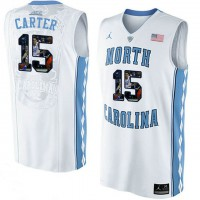 North Carolina Tar Heels #15 Vince Carter White With Portrait Print College Basketball Jersey
