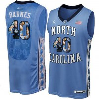 North Carolina Tar Heels #40 Harrison Barnes Blue With Portrait Print College Basketball Jersey