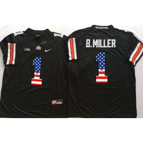 quality design 02dbc b4692 Ohio State Buckeyes #1 B.Miller Black USA Flag College ...